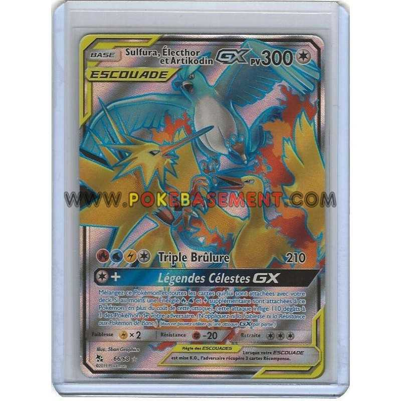 carte pokemon full art SL11.5   Carte Pokémon Sulfura Électhor et Artikodin GX Escouade